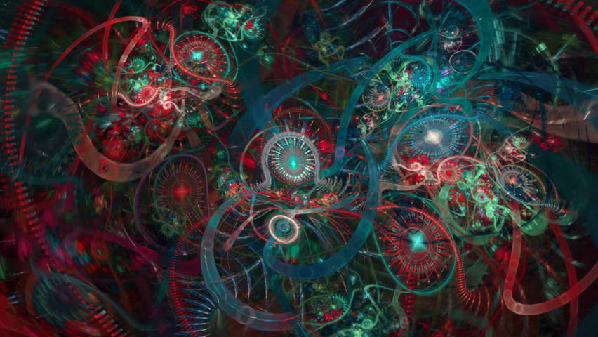 Multicolored abstract tubes spheres and spirals seamless loop
