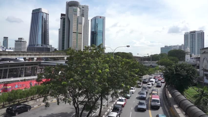 KUALA LUMPUR - DEC 21: Traffic jam at Tun Sambanthan Kuala Lumpur, Malaysia on Dec 21, 2012 - HD stock video clip