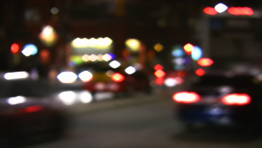 Defocused traffic at night. Toronto, Canada. - HD stock footage clip