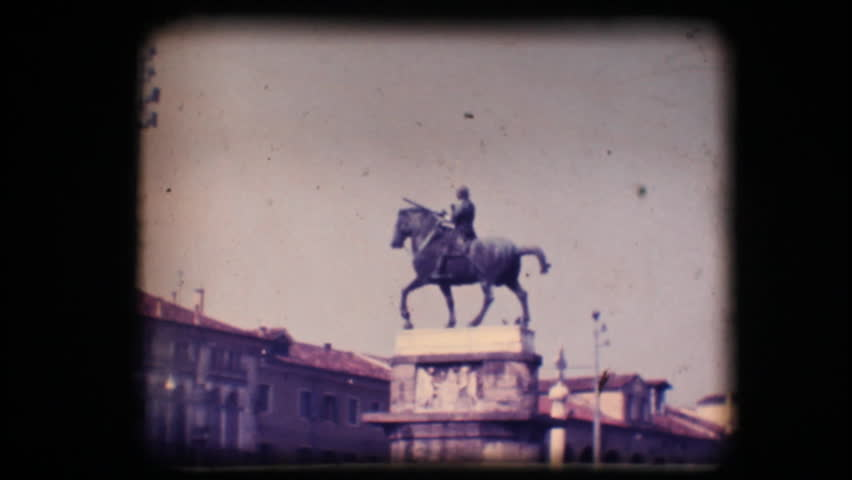 Vintage 8mm. Original footage digitalized. Statue of man on horseback in Padova, Italy