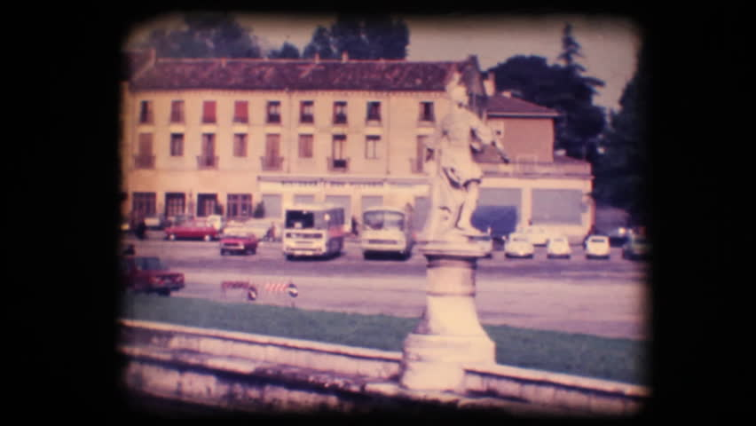 Vintage 8mm. Original footage digitalized. Town square and church in Padova, Italy