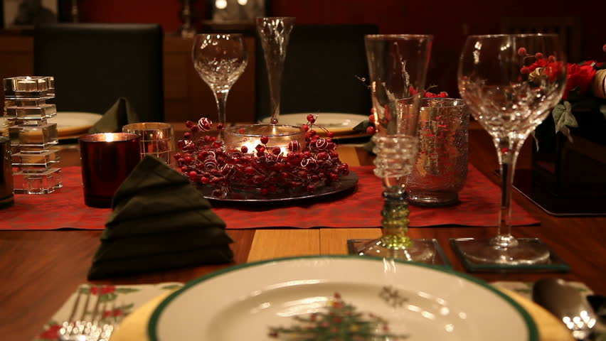 Christmas Table Mid Shot Static Mid Shot Of A Dining