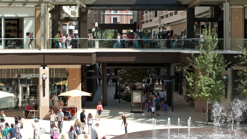 SALT LAKE CITY, UTAH - CIRCA SEPT 2012: New shopping center in downtown Salt Lake City, Utah circa September 2012. Over a billion dollar investment by the Mormon church to beautify the city around their temple. - HD stock footage clip