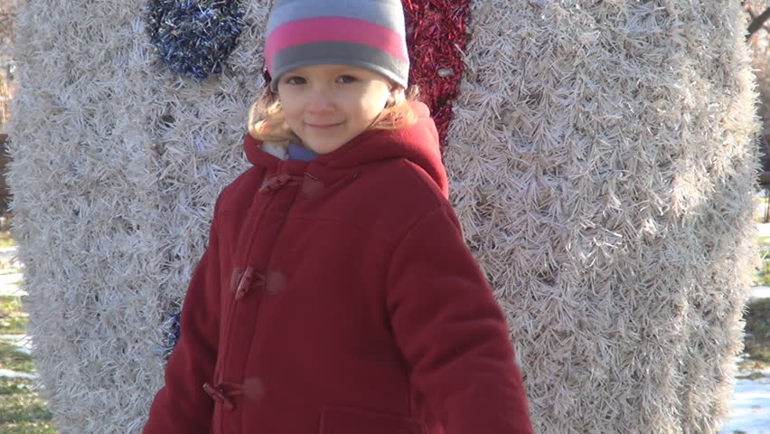 Child Being Cold And Shivering In Park, Winter Season ...