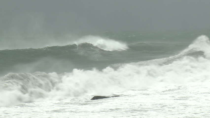 Hurricane Storm Surge Waves Crash Ashore - Shot in full HD 1920x1080 30p on Sony EX1 XDCAM. - HD stock video clip