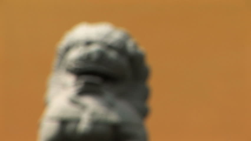 Chinese stone lion coming into focus, Jade Buddha Temple, Shanghai, China  - HD stock footage clip