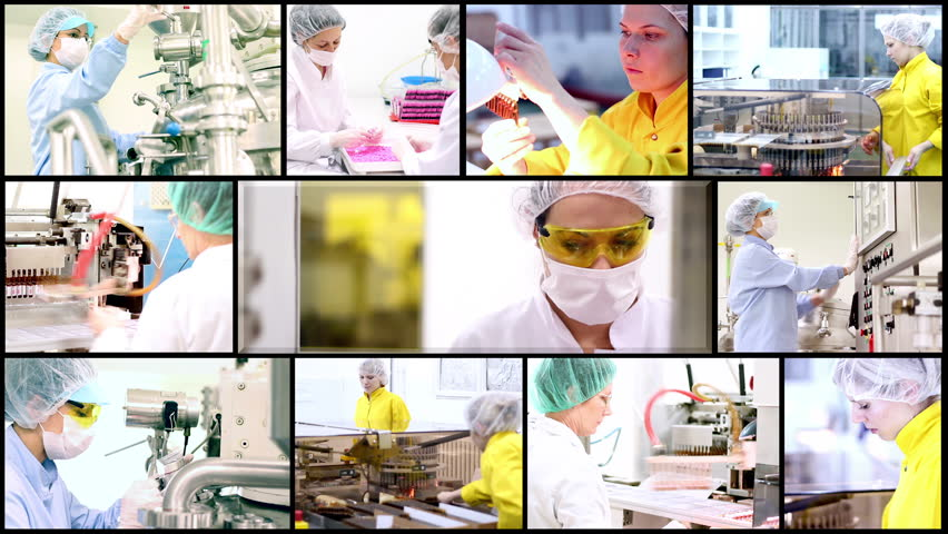 Pharmaceutical Concept. Technology Background. Pharmaceutical Workers. Montage collection of clips showing pharmaceutical workers at work. HD1080p.