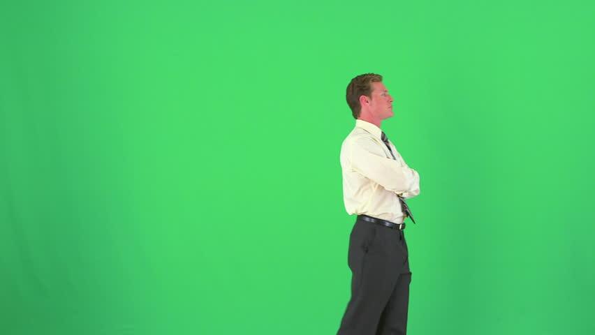 businessman thinking on greenscreen - HD stock video clip