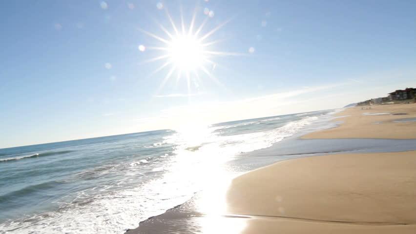 Beautiful sea view - crane shot - HD stock video clip