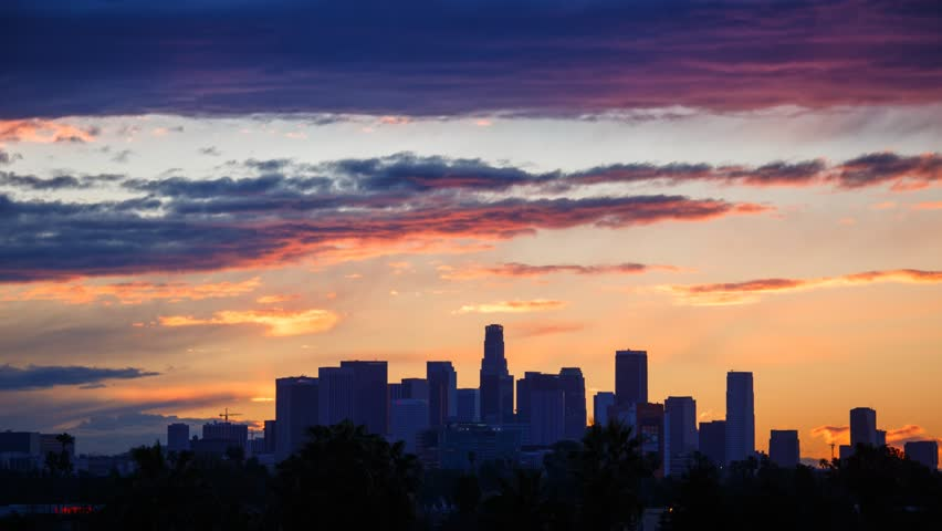 Sunrise. Los Angeles city skyline. Timelapse.