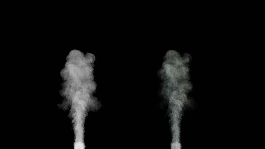 blowing steam or smoke isolated on black background with alpha (1080p high definition, seamless loop)  - HD stock footage clip