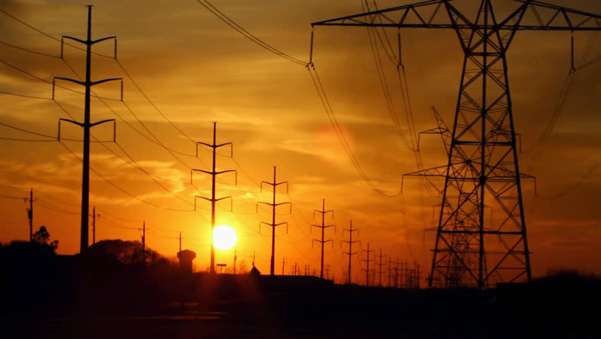 Sunset With Power Lines In Time Lapse Stock Footage Video ...