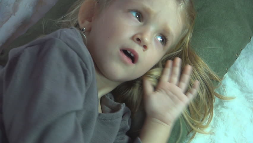 Sick Child Sneezing then her Mother Checking Temperature with Thermometer - HD stock video clip