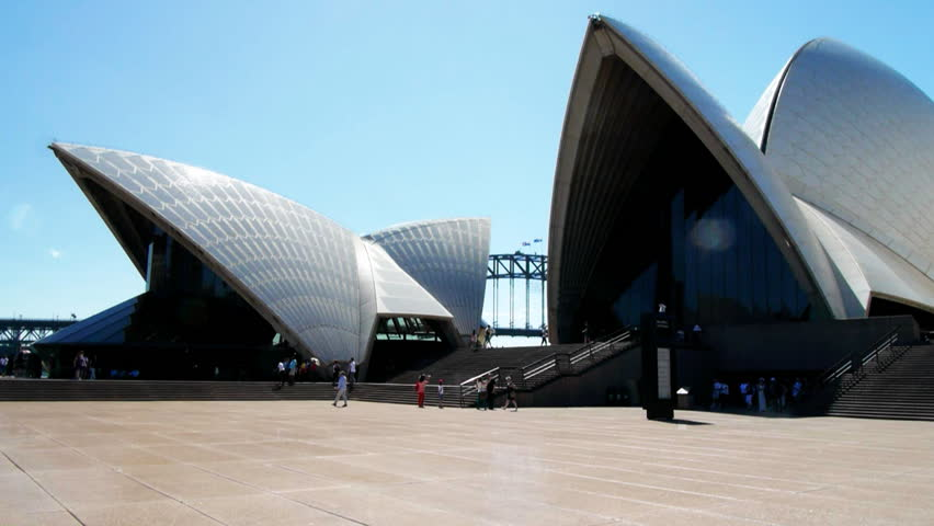 SYDNEY, AUSTRALIA - MARCH 13: Sydney Opera House, panning time lapse view of the sails from the forecourt, on March 13, 2013