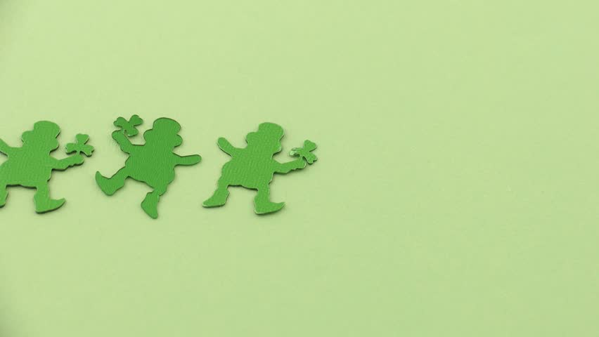 Stop-motion animation of dancing leprechauns. - HD stock footage clip