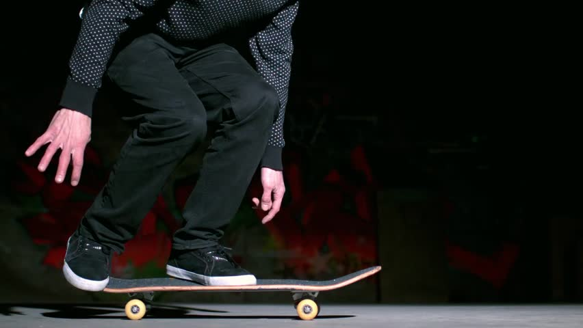 Skater performing 360 flip trick in slow motion - HD stock video clip