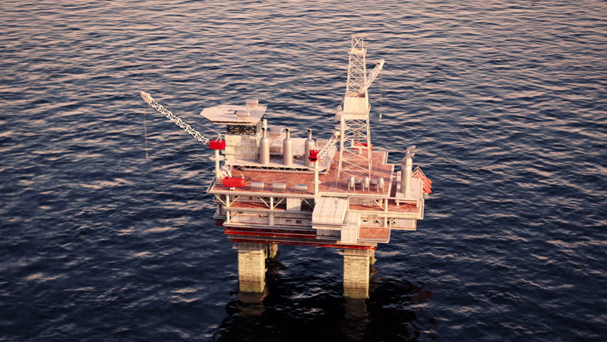 Oil platform on sea is offshore structure with facilities to drill wells, extract and process oil and natural gas and temporarily store produced goods until it can be brought to the shore for refining