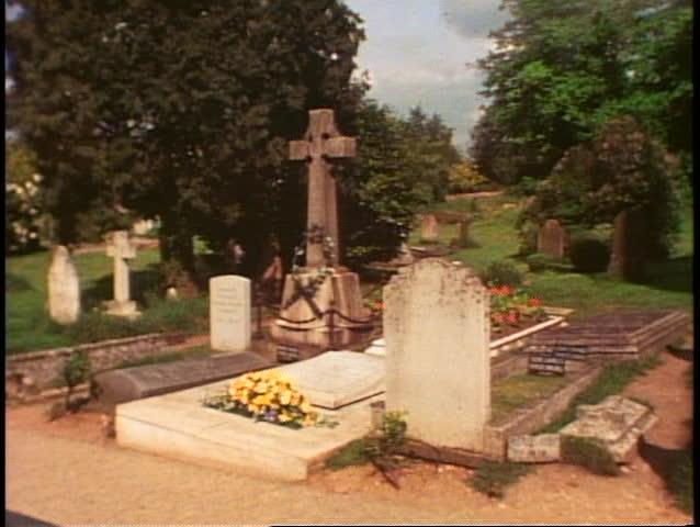 St Martin's Church, Bladon, England, graveyard, wide shot Churchill grave