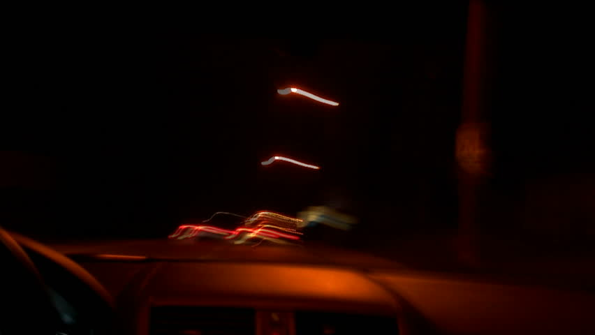 Driving around the city at night. HD 1080 - HD stock video clip