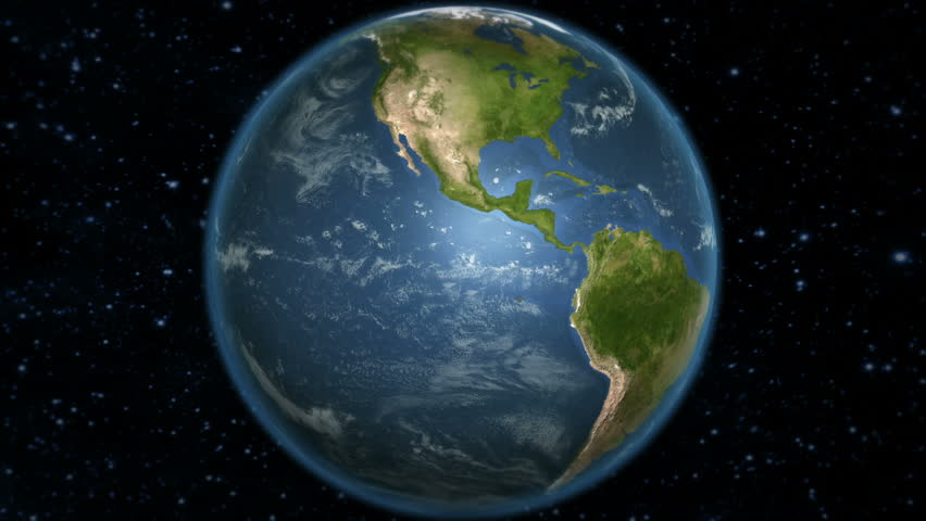Spinning Earth with South American country maps. Loop-able. Each country border freeze a few seconds to let you edit and change the order or duration. Elements of this video furnished by NASA.
