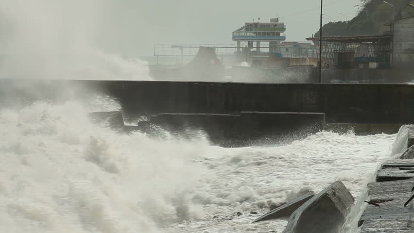 Storm on the city embankment - HD stock video clip
