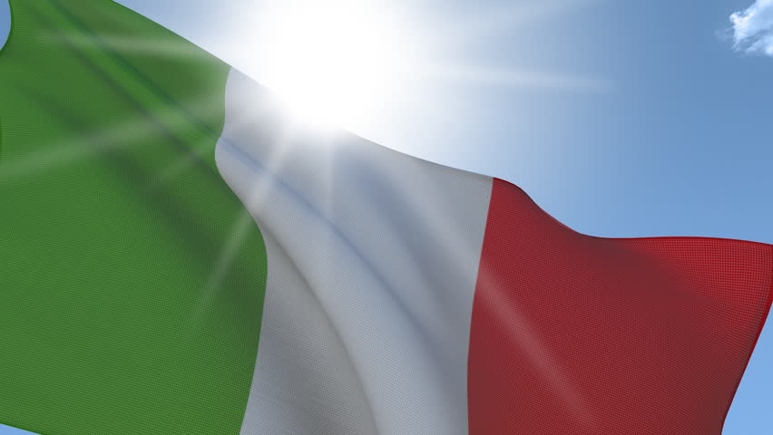 Flag of Italy Waving on the Wind with the sun behind. Seamless Loop. - HD stock footage clip