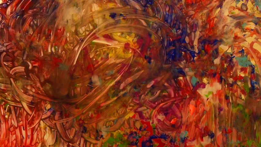Child's hands swirling around in paint - HD stock footage clip