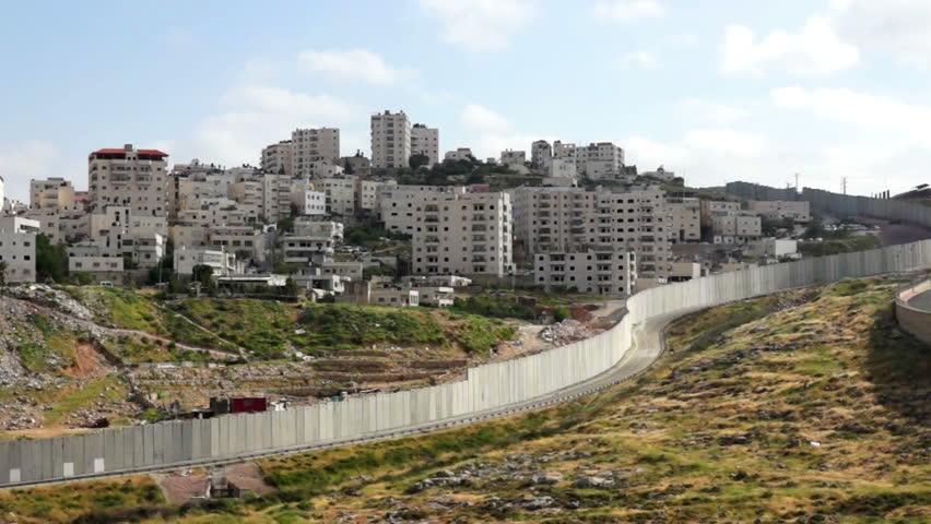 Israeli West Bank barrier- east Jerusalem security wall - HD stock video clip