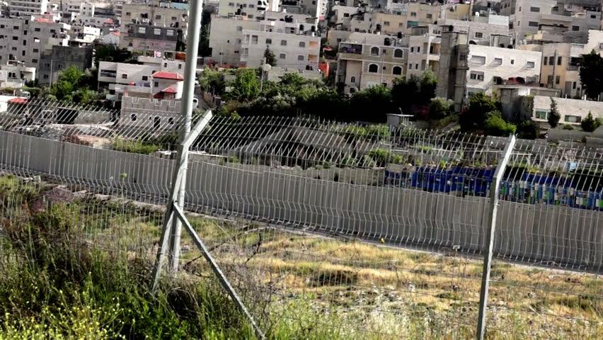 Israeli West Bank barrier- east Jerusalem security fence - HD stock video clip