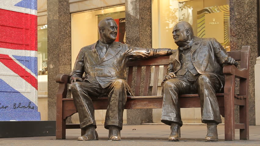 LONDON - CIRCA 2012 - Franklin D. Roosevelt and Winston Churchill bronze statues, sitting on a bench in Old Bond street, Mayfair
