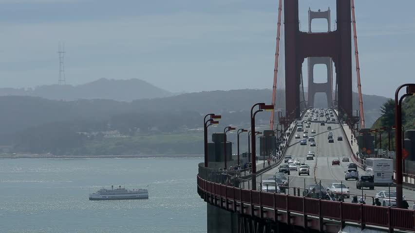 USA, San Francisco - April 20: Traffic cars on the Golden Gate Bridge on April 20, 2013 in USA, San Francisco.