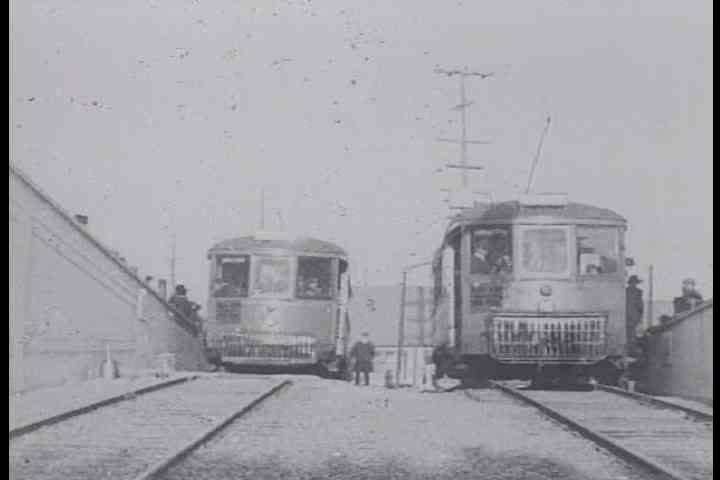 1910s - Silent film footage of the opening of the Twin Peaks trolley car tunnel under San Francisco in 1917.