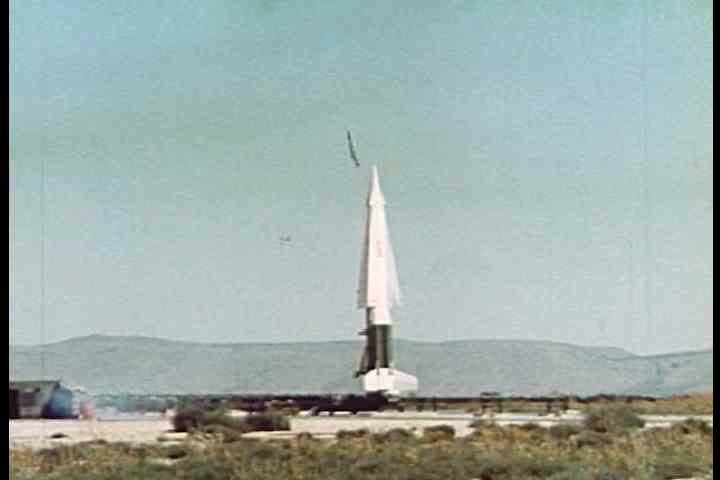 1950s - A guided missile launches into space.