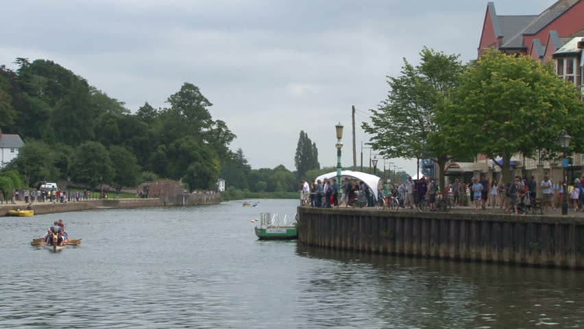 EXETER, UK - SEPTEMBER 2012: Viking boats racing at an event. - HD stock video clip
