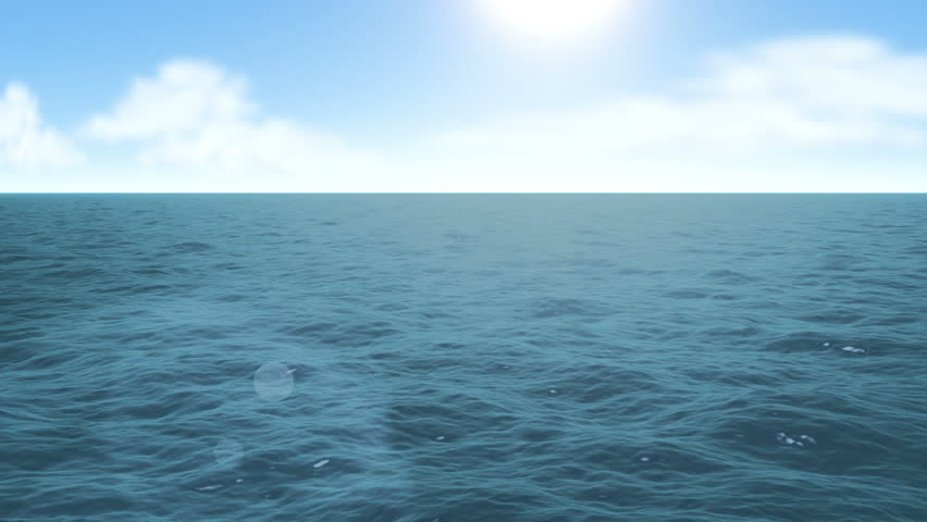 Flying over calm ocean blue sky and sun. HD 1080 seamless loop