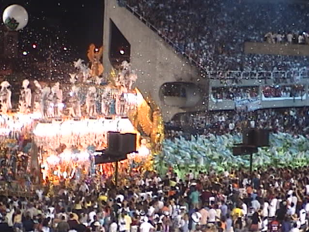 Carnival Show Rio de Janeiro (Brazil), several fantasy floats (1) - no sound, DV 4:3, Sony TRV 130 - SD stock video clip