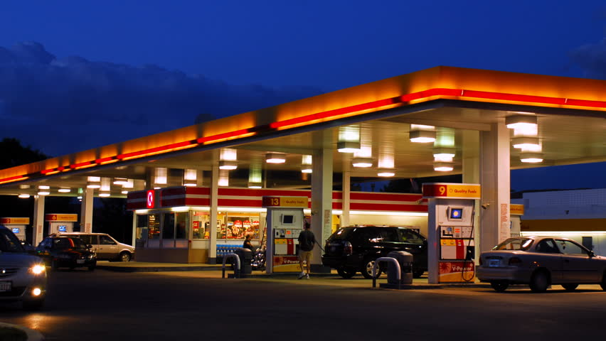 Gas Station at Night Time Lapse