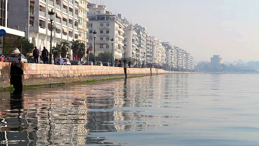 View of the Thessaloniki's port with the White Tower, Greece - HD video