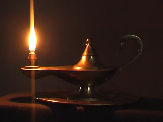 Animated Burning Lamp Oil : Old antique magic lamp burning stock footage video