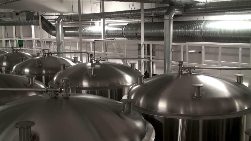 Modern craft brewery steel fermentation vessels stock for Craft a brew fermenter