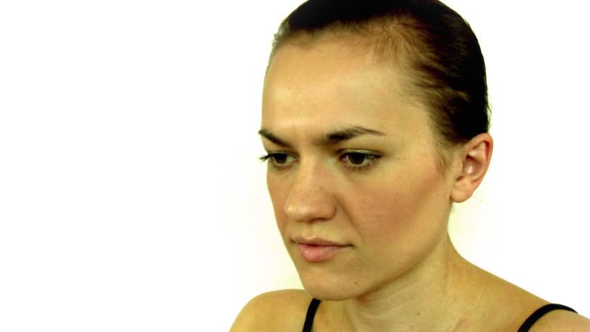 woman having headache and massaging her head - HD stock video clip