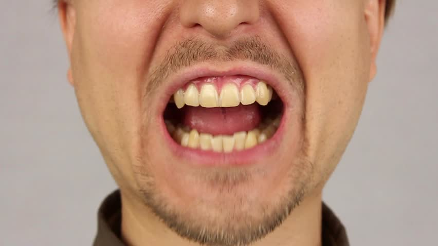 Closeup Of Young Male Mouth And Teeth. Stock Footage Video ...