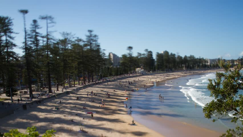 Manly Beach Australia tilt shift time-lapse - HD stock video clip