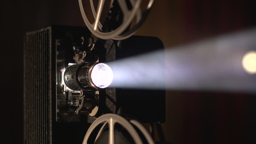 Film projector dolly shot, slow motion close