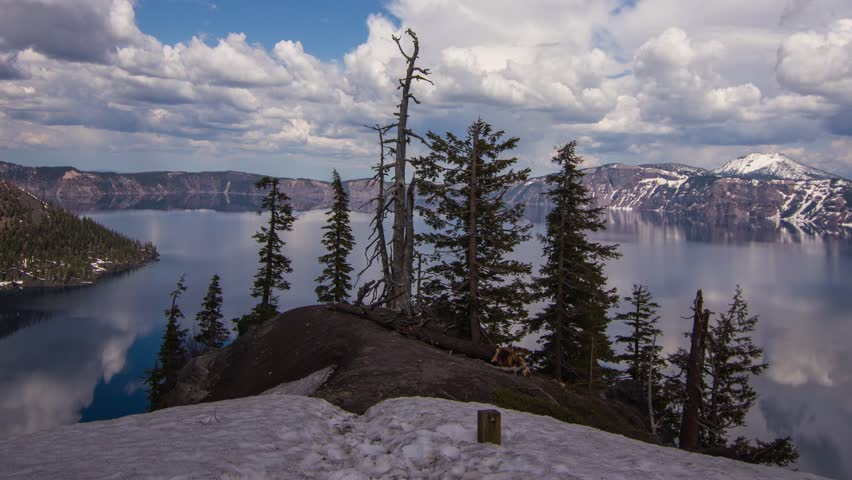 Time Lapse Pan shot of Crater Lake on a Cloudy Afternoon in Oregon, USA. Photo Sequence shot on DSLR camera