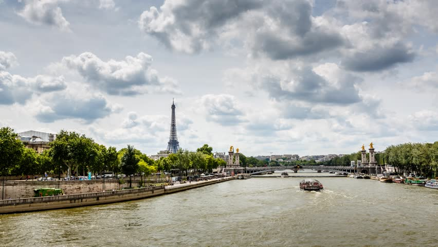 Eiffel Tower and Alexander the Third Bridge, Timelapse Video, Paris, France - HD stock footage clip