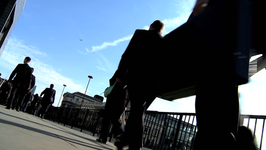 City commuters in slow motion - HD stock video clip