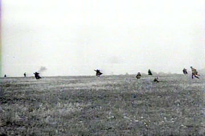 1940s - Captured Italian war film from 1941 shows scenes of German artillery shells striking Leningrad during siege.