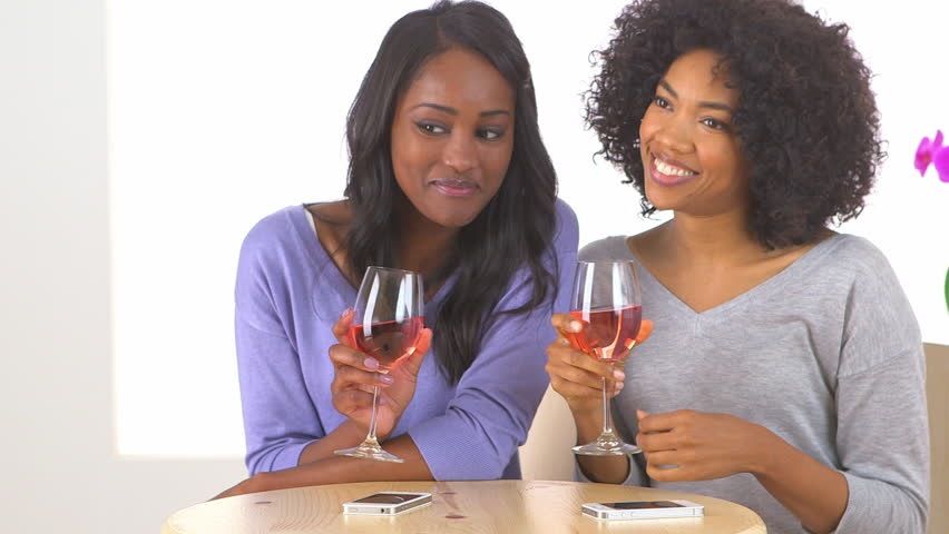 Two African American friends drinking wine and smiling at someone off screen - HD stock footage clip