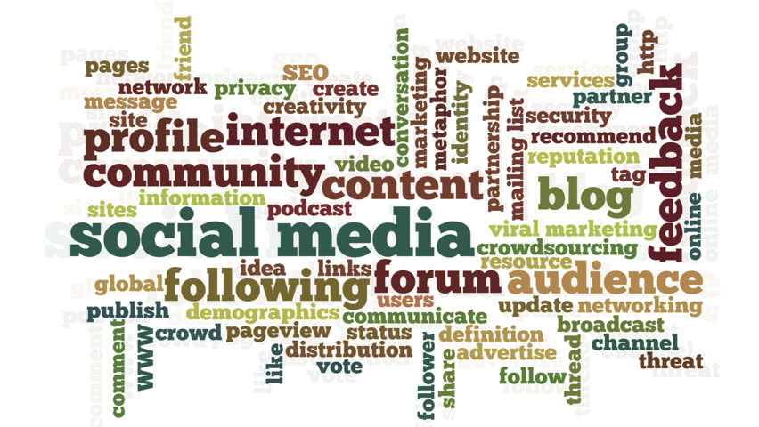 Conceptual video of tag cloud containing words related to social media, marketing, blogs, social networks and Internet, stressing selected words, on white background